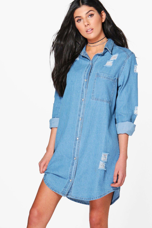 6fa4f01e9cc Womens Blue Esther Oversized Distressed Denim Shirt Dress. Hover to zoom