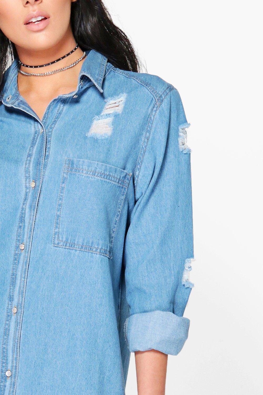 boohoo womens esther oversized distressed denim shirt