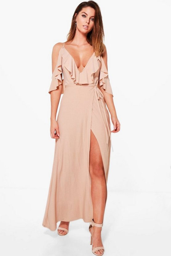 Lyla Frill Detail Drop Shoulder Wrap Tie Maxi Dress