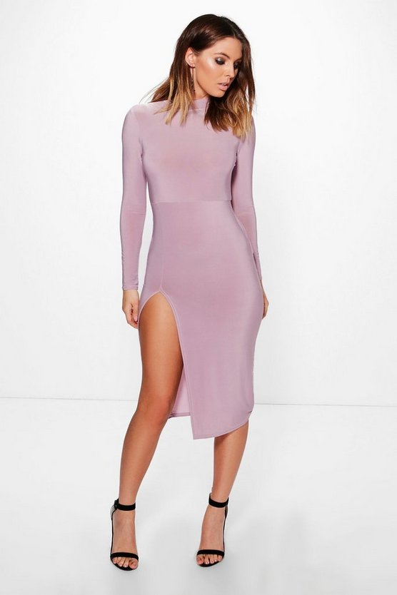 Womens Slinky Roll Neck Split Midi Dress