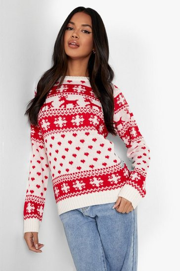 Womens Cream Reindeers & Snowflake Christmas Jumper