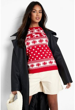 Womens Red Reindeers & Snowflake Christmas Jumper