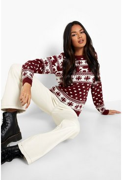 Womens Wine Reindeers & Snowflake Christmas Jumper