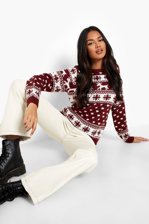 Wine Christmas Sweater.Reindeers Snowflake Christmas Sweater Boohoo