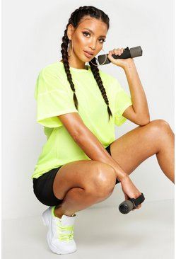 Womens Neon-lime Fit Oversized Mesh Workout Tee