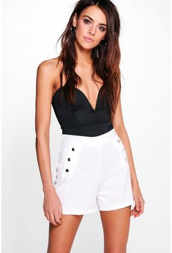 Ivory Button Detail High Waist Shorts