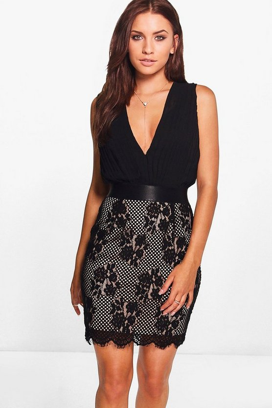 Boutique Jo Pleated Top Lace Skirt 2 in 1 Dress