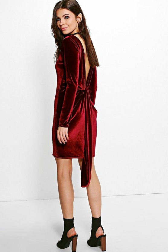 Ruth Velvet Open Back Drape Detail Bodycon Dress