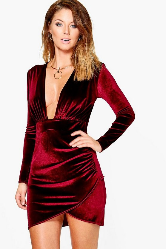 Womens Berry Velvet Plunge Neck Wrap Bodycon Dress