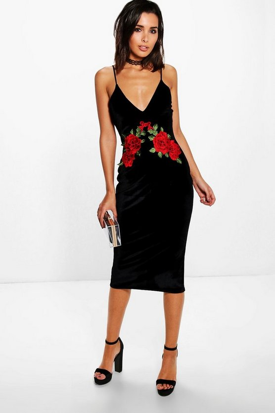 Velvet Applique Detail Strappy Midi Dress