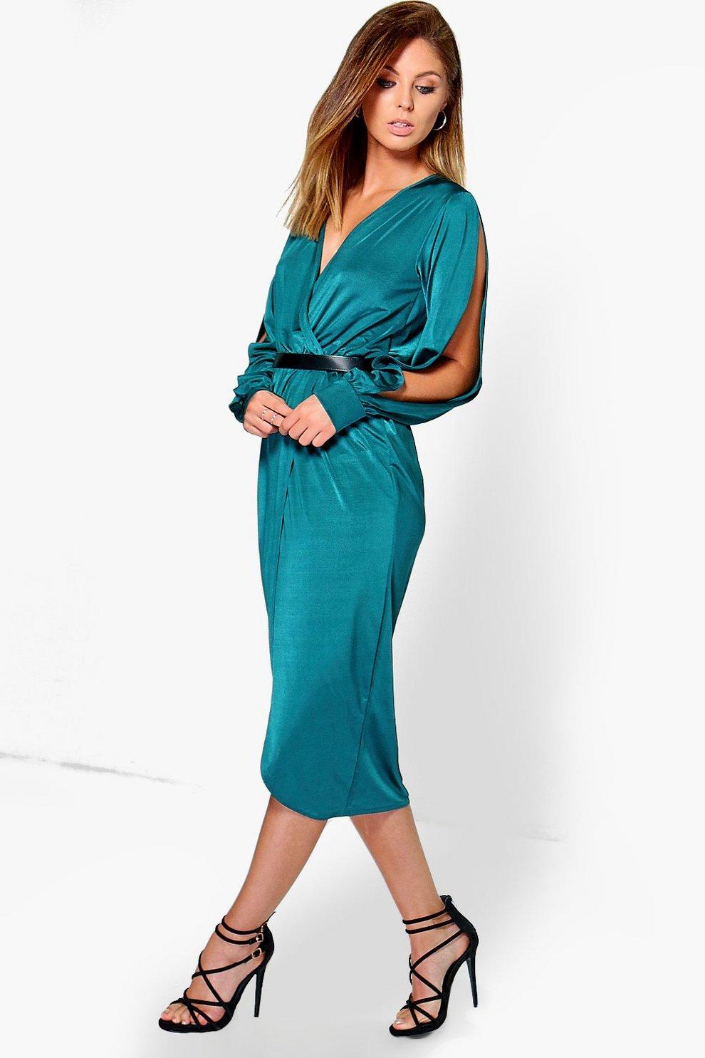 20c3a523cc0 Ruby Slinky Split Sleeve Wrap Over Midi Dress