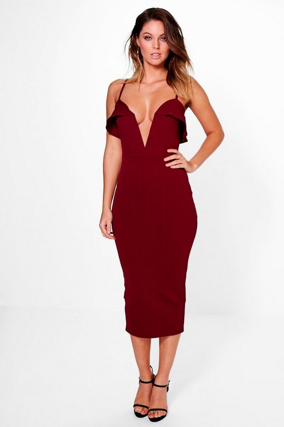 Womens Berry Adah Plunge Neck Detail Strappy Midi Dress