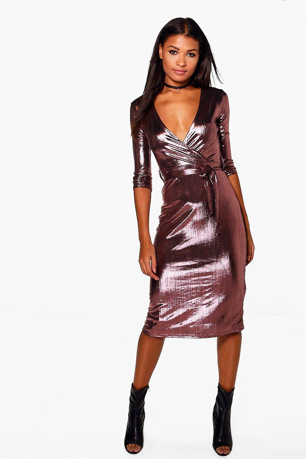 2258946e88cc7 Joss Metallic Wrap Midi Bodycon Dress | Boohoo