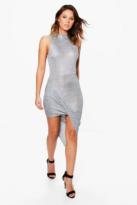 Tina Metallic Asymetric Bodycon Dress