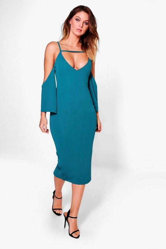 Kady Strappy Split Bell Sleeve Midi Dress