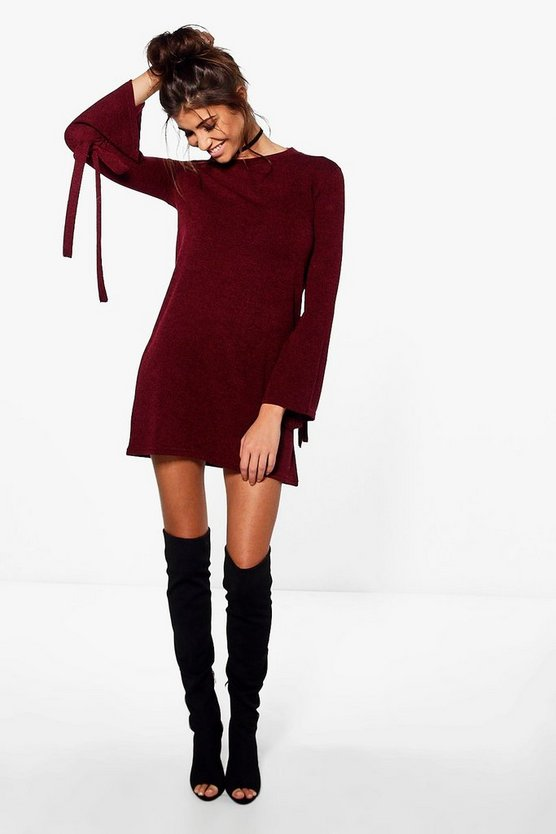 Tie Detail Flute Sleeve Shift Dress
