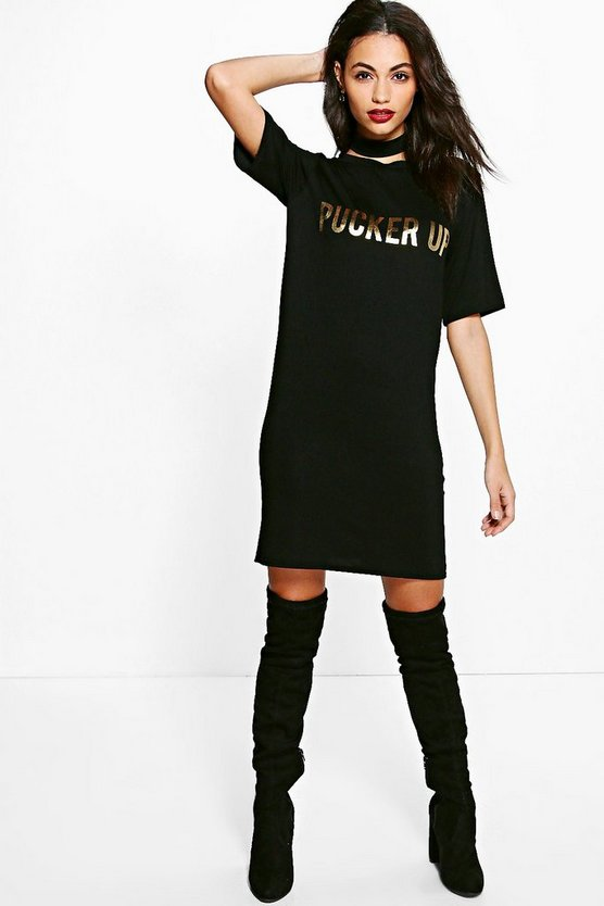 Iona Pucker Up Metallic Choker T-Shirt Dress