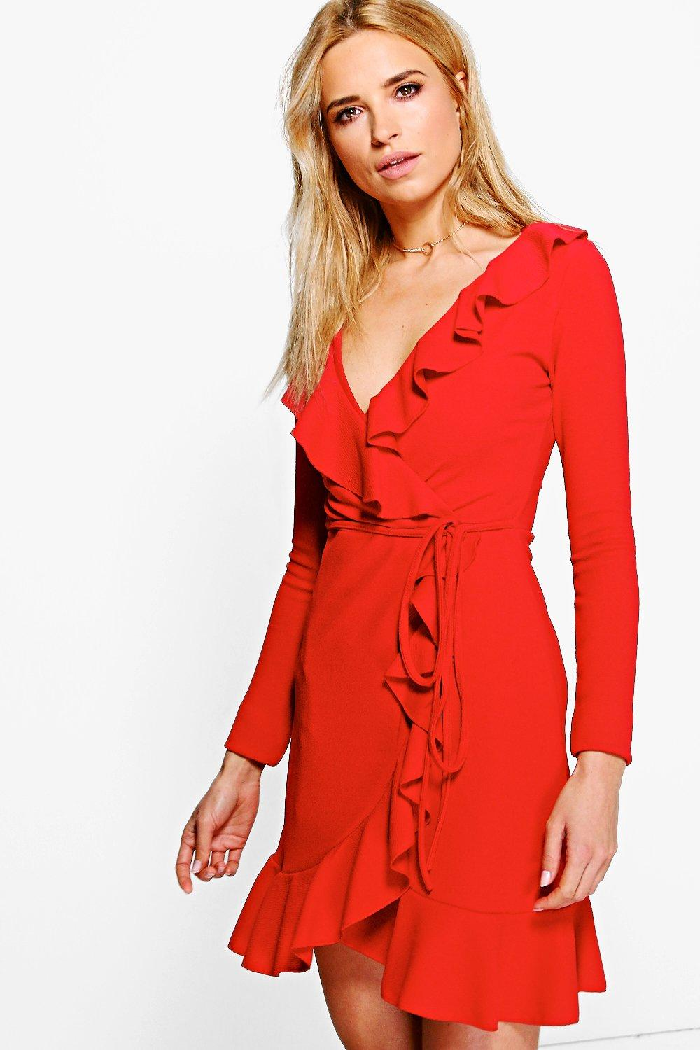 c7bedf9b10e4 Womens Red Frey Ruffle Wrap Long Sleeved Tea Dress. Hover to zoom