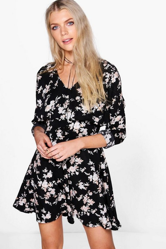 Nicole Floral Ruffle Split Sleeve Tea Dress