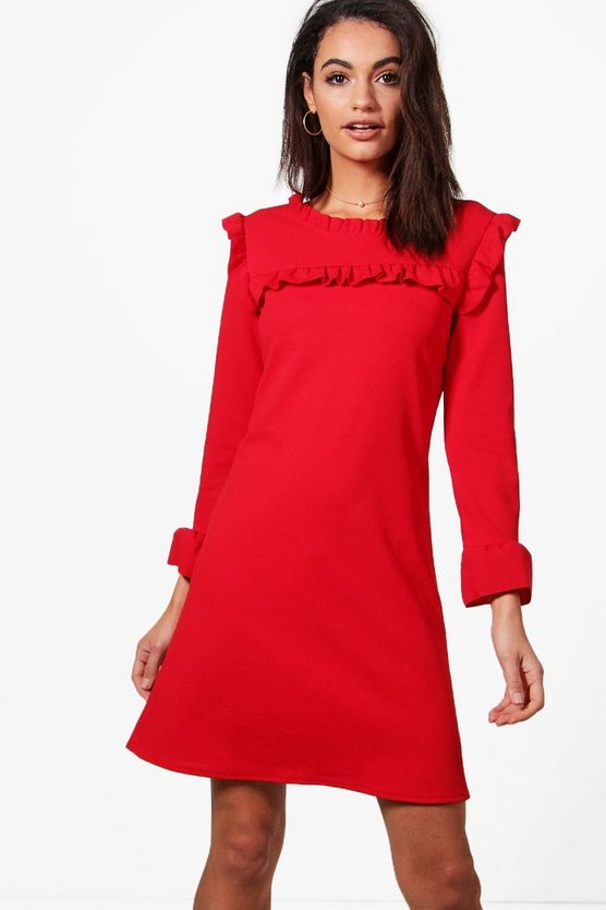 Ruffle Neck & Cuff Tailored Dress
