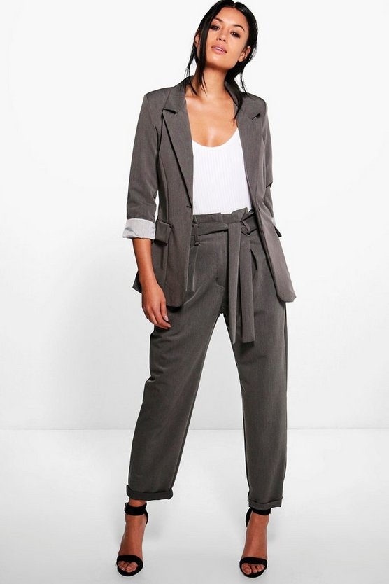 Belted Paperwaist Tailored Trouser