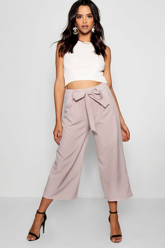 Womens Mocha Belted Tailored Culotte