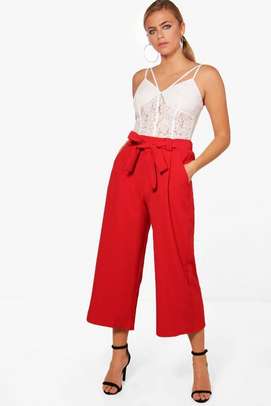 Womens Red Belted Tailored Culotte