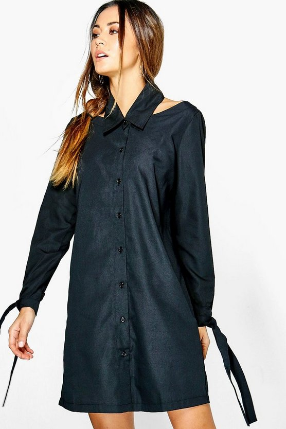 Cut Out Collar Detail Shirt Dress