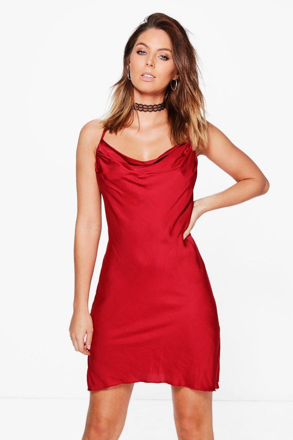 63463657932e Womens Red Satin Cowl Neck Strappy Midi Dress