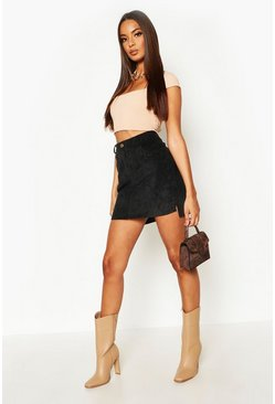 Black Chunky Cord Step Hem Mini Skirt