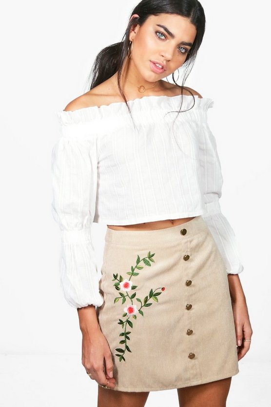 Inez Chunky Cord Embroidered Side Skirt