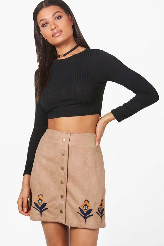 Alexi Embroidered Hem Button Front Suede Skirt