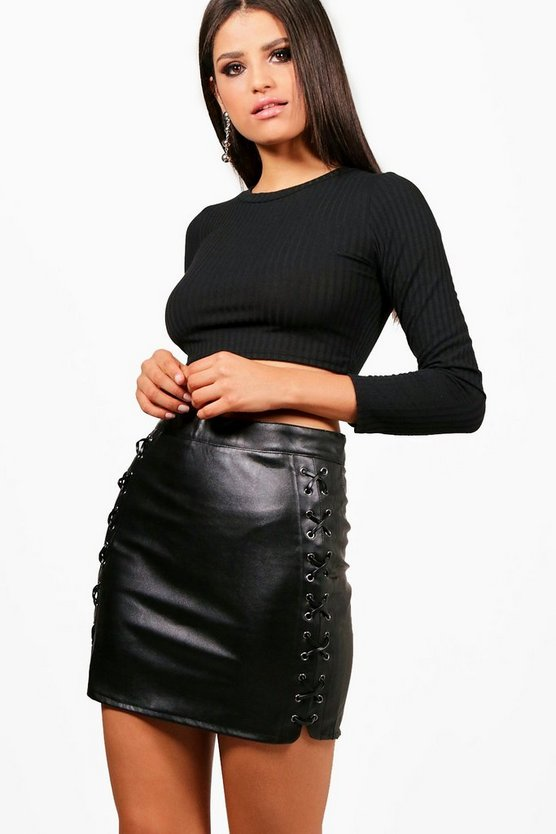 Aerin Lace Up Side Leather Look Skirt