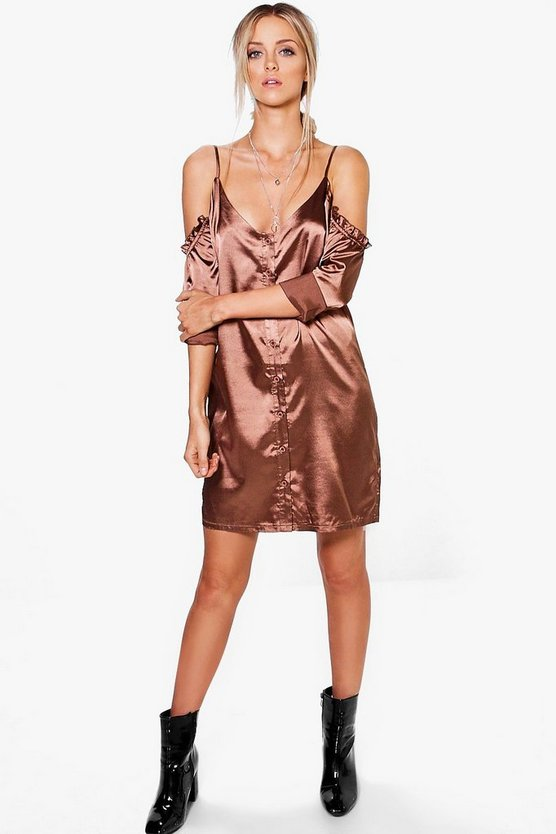 Hedvi Cold Shoulder Ruffle Satin Shirt Dress