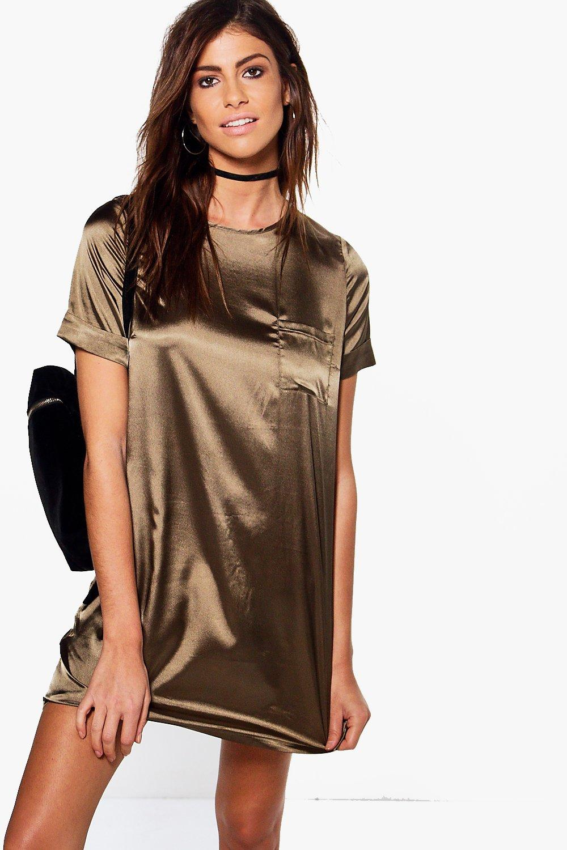 Satin Pocket Shift Dress  khaki