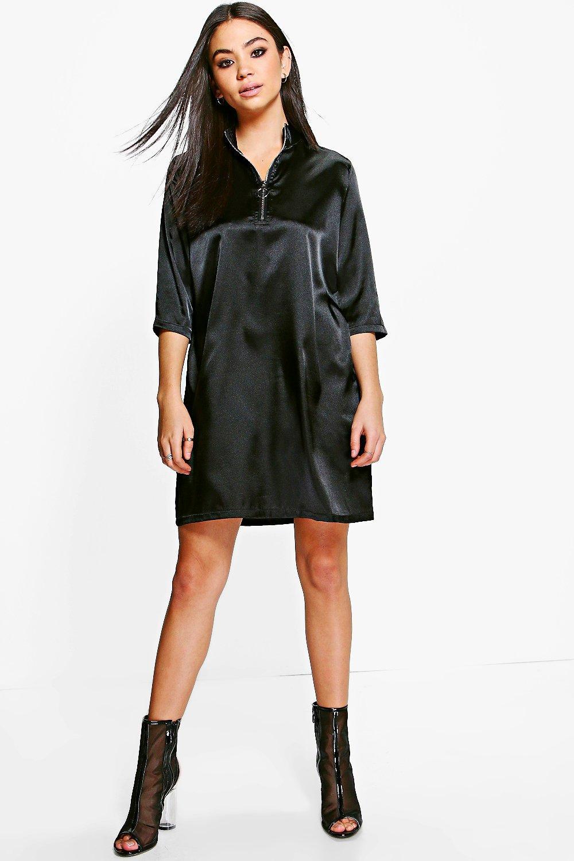 Satin Zip Front Shift Dress  black