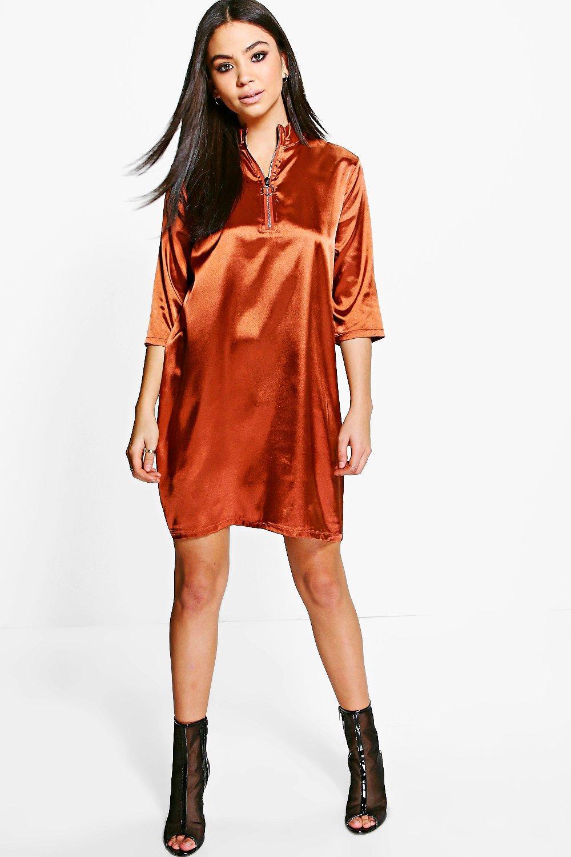 Satin Zip Front Shift Dress  copper