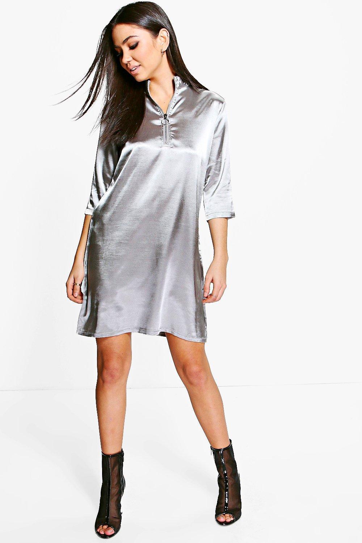 Satin Zip Front Shift Dress  dove
