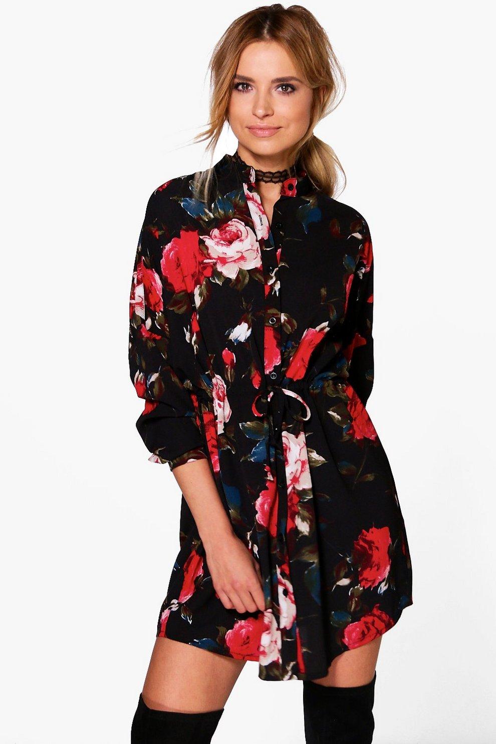 a975749c74f5ad Floral Print Tie Waist Shirt Dress | Boohoo