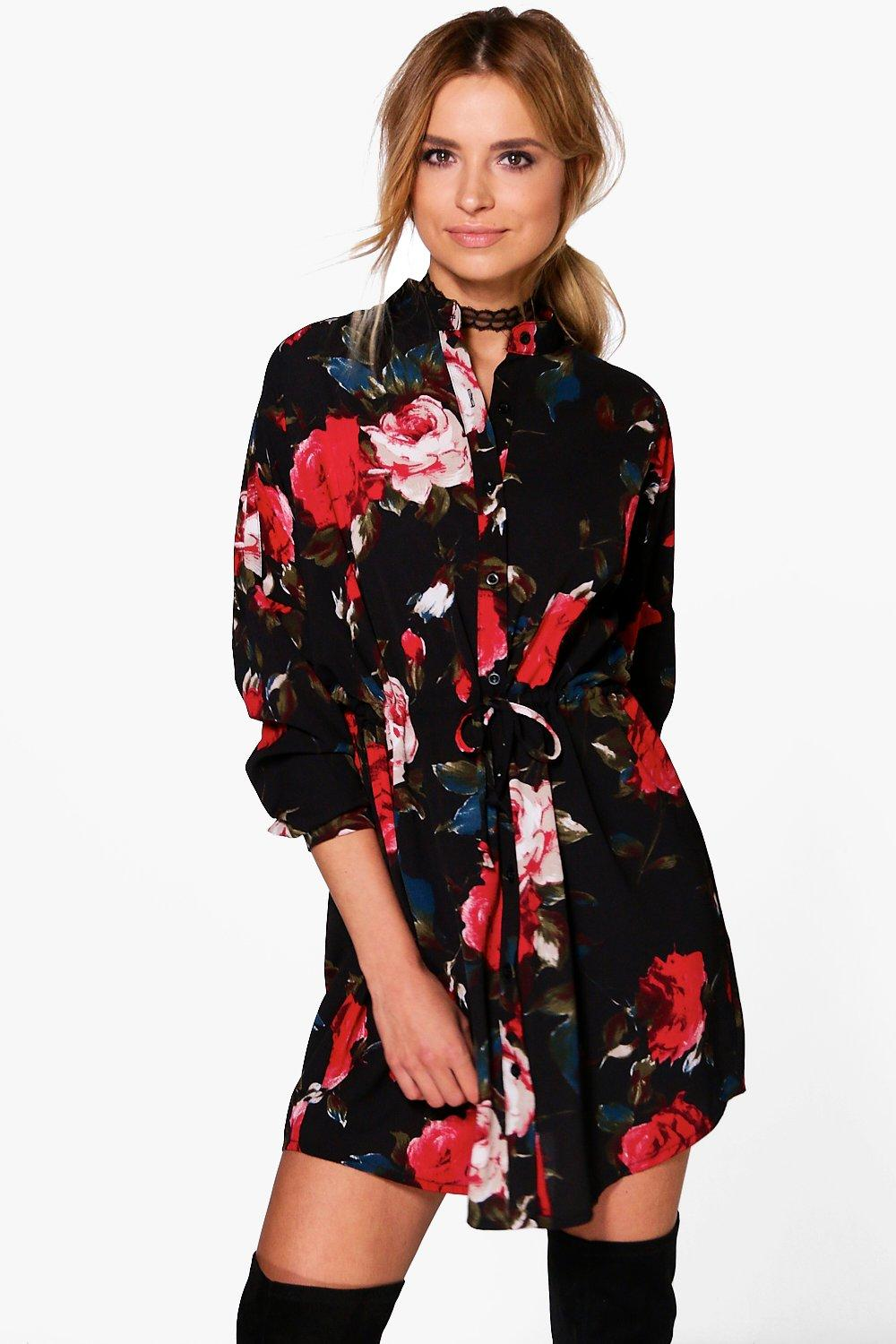 7c02f145f4 Womens Black Floral Print Tie Waist Shirt Dress. Hover to zoom