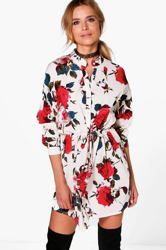 Floral Print Tie Waist Shirt Dress