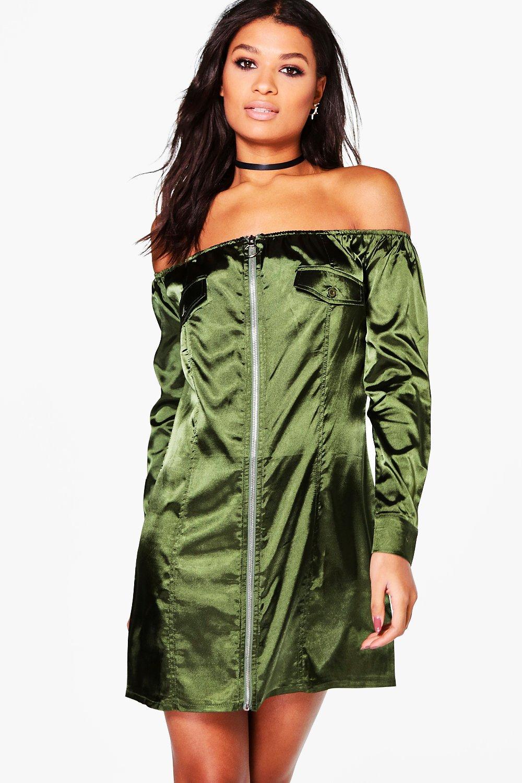 Off Shoulder Satin Shift Dress  green