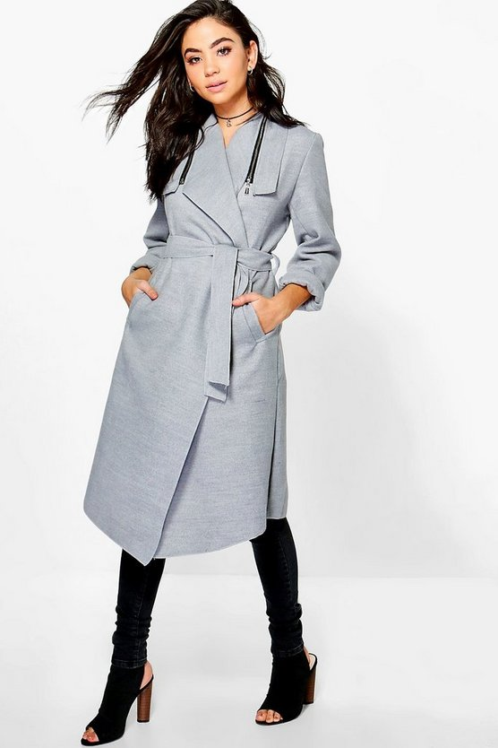 Aaliyah Zip Shawl Collar Coat
