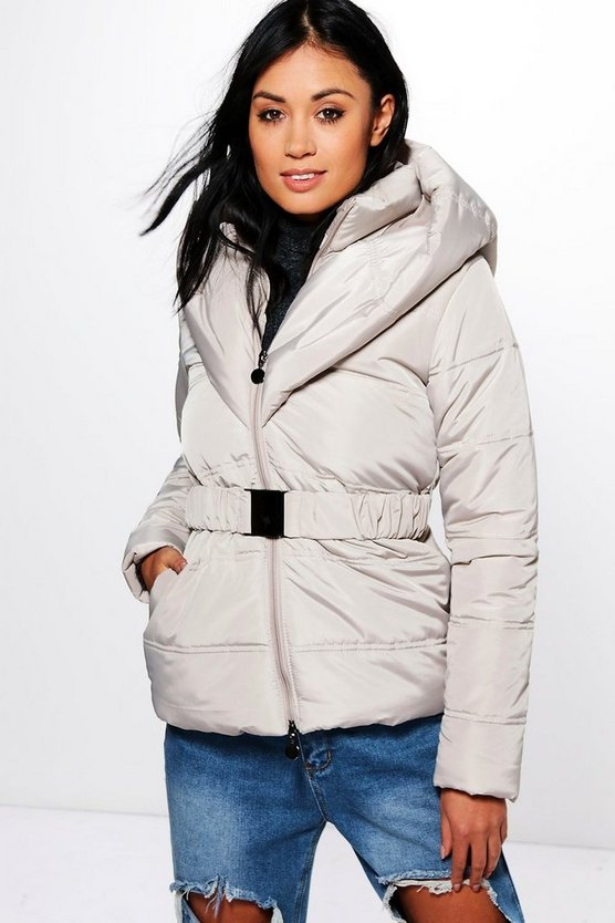 Womens Stone Mia Hooded Quilted Coat