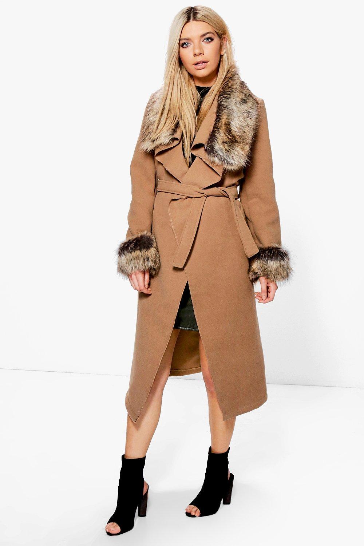 f6325831ddc1 Mya Faux Fur Collar and Cuff Coat