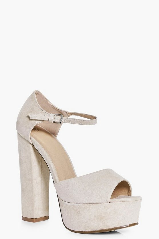 Womens Nude Platform Peeptoe Two Part Heels