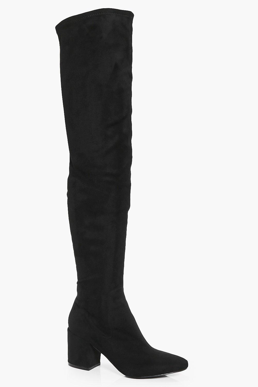 a9272f8dee Womens Black Block Heel Thigh High Boots. Hover to zoom