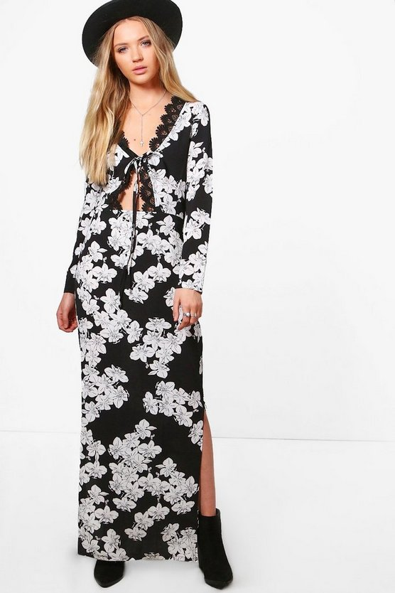 Floral Tie Front Lace Trim Maxi Dress