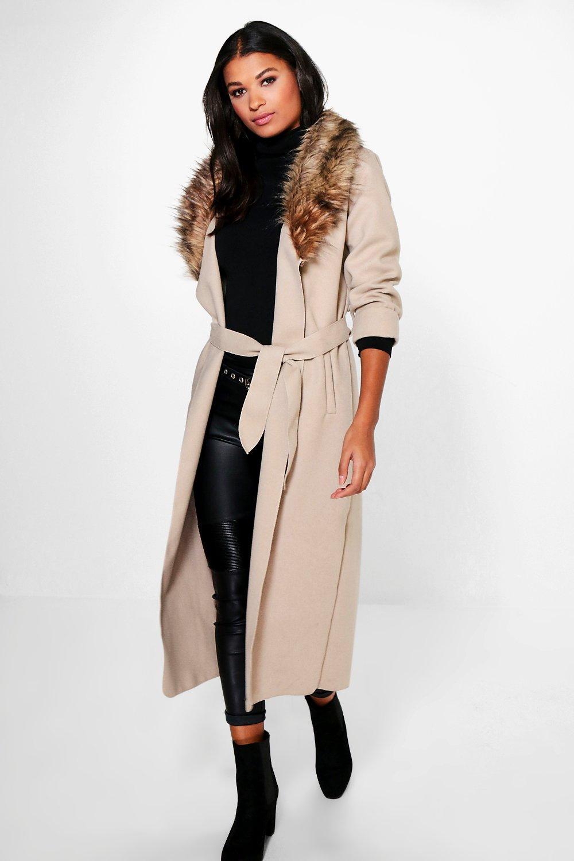 5e26cc3c8fef Emily Faux Fur Collar Coat. Hover to zoom