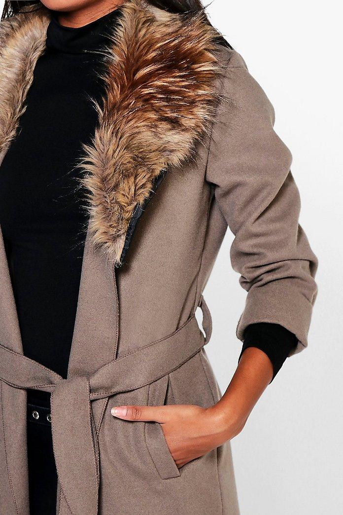 Emily Faux Fur Collar Coat | boohoo